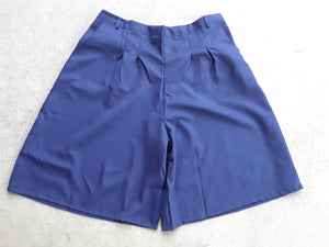Front Pleat Culottes With Button And Side Zipper - Navy polyester-4XL