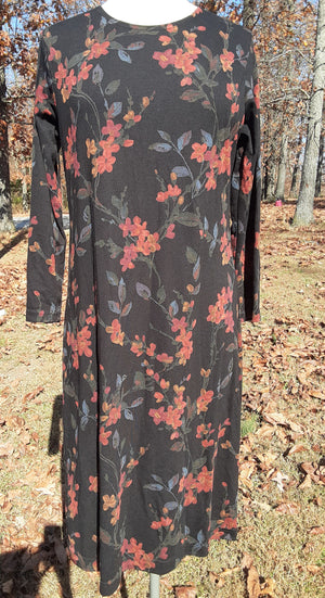 Long sleeve knit black and orange print dress size medium
