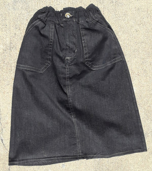 Girls Long Everyday Denim Skirt-size 6 black denim