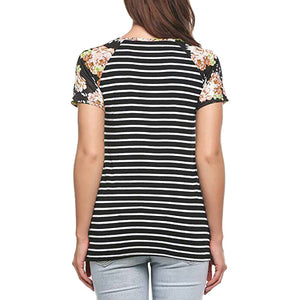 Women Short Sleeve O-Neck Printed Floral striped top