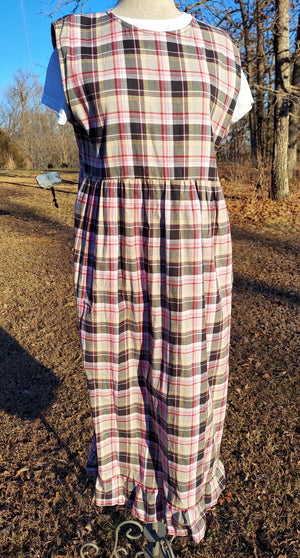 "Modest Ladies School Jumper Dress in Pink Plaid with 4"" ruffle-Medium"