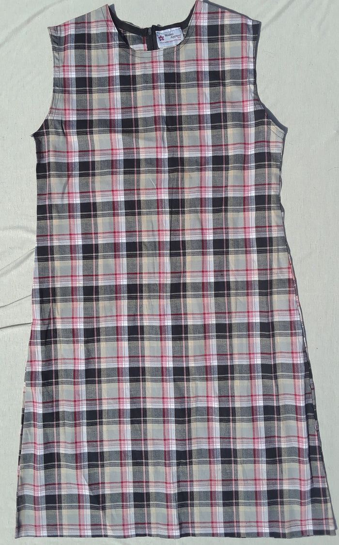 Modest Ladies School Jumper Dress in Pink Plaid 2 lengths