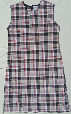 Girls plaid jumper dress with ruffle hem -Child sizes