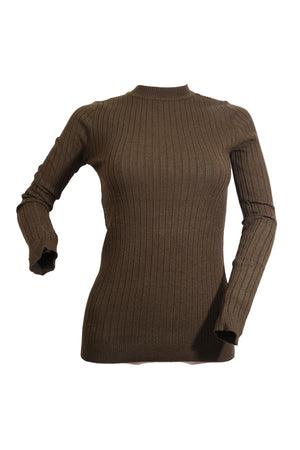 Modest Long Sleeve Ribbed Knit Top