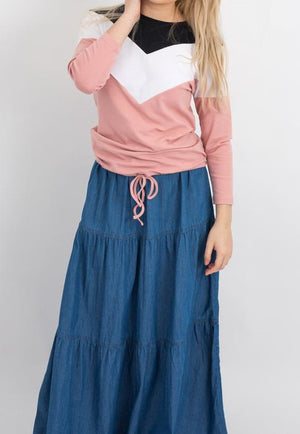 Tiered Prairie denim Maxi skirt