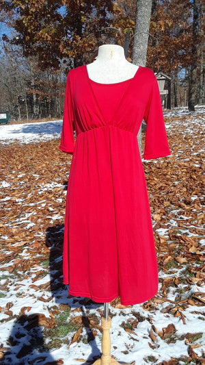 Modest Red Knee length v-neck dress Nursing Dress