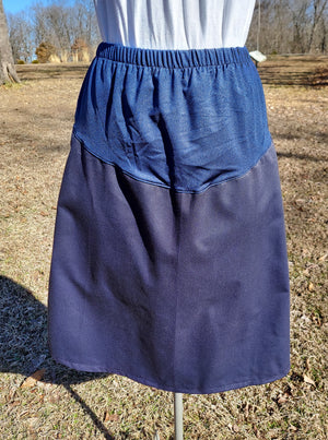 Long Twill Maternity Skirt-Small Cranberry or Navy