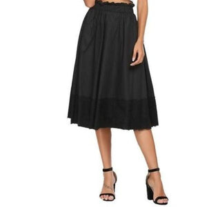 Ruffle Waist A-Line Pleated Patchwork Lace Skirt