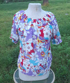 Floral Peasant Top with Large flowers