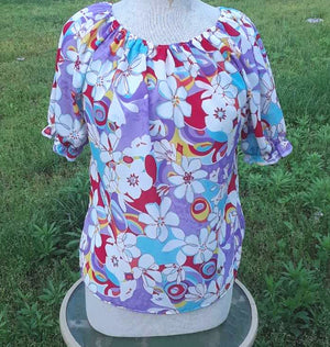 Floral Peasant Top with Large flowers-size Medium