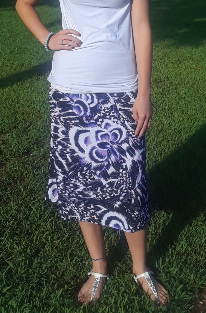print knee length or Maxi skirt -White purple and black print