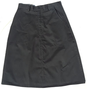 Adult long length Twill Uniform Skirt with pockets-size 8 black