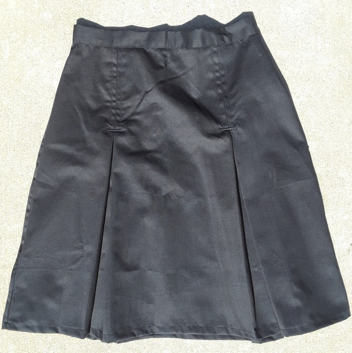 Modest Pleated School Uniform Skirt - Adult Sizes black twill size 12 and 14