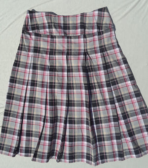 Pink Plaid Pleated Skirt with yoke waist size 12