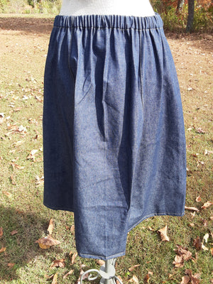 Western Style Denim Skirt-Calf Length