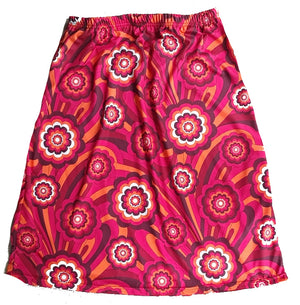 Retro print skirt -Pink, red and orange Size 12