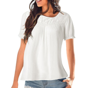 Solid Casual Short sleeve Lace Patchwork Peasant Tops