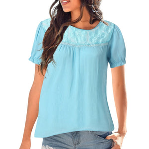 Solid Casual Short sleeve Lace Patchwork Tops