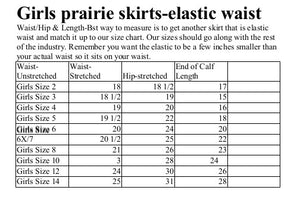 girls size chart for prairie skirts