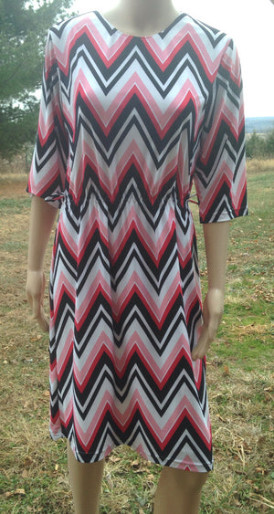 dress white pink black zig zag print (without belt)