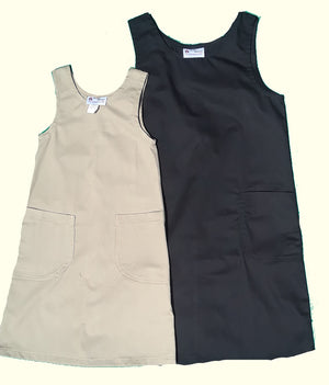 girls school jumper black and khaki twill