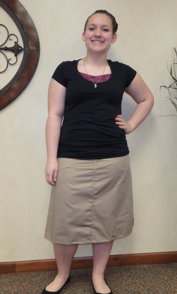 Calf length khaki Skirt with pockets-size 10