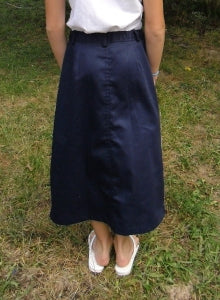 long twill uniform skirt from the back with adjustable waist