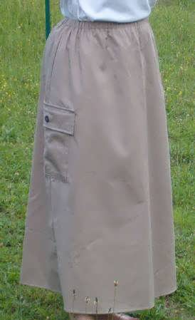 Long Elastic Waist A-Line Twill Cargo Skirt-Ankle Length Small-XL