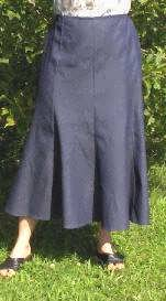 long gored denim skirt