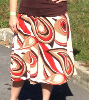 brown orange and tan print skirt