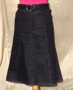 Child size Knee length Denim skirt with flared hem
