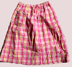 pink seersucker plaid skirt