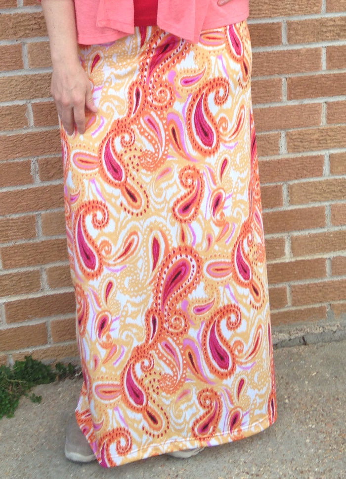 Yellow and red paisley print knee length or maxi skirt