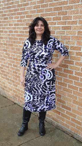 white purple and black Print dress with high neck