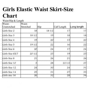 size chart for girls elastic waist skirt