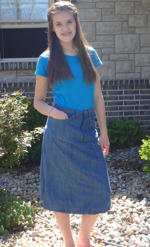 girls denim skirt with seams medium blue