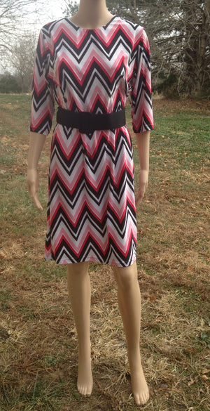 dress white pink black zig zag print