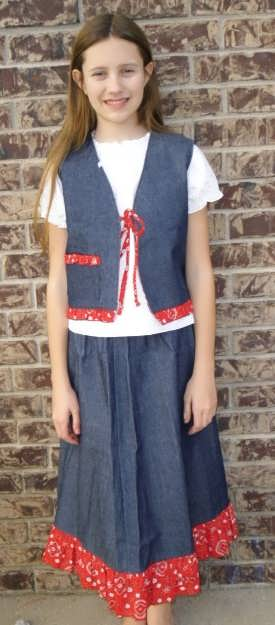 Girls Western Look Skirt and Vest Set
