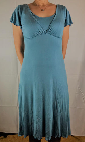 blue v-neck dress