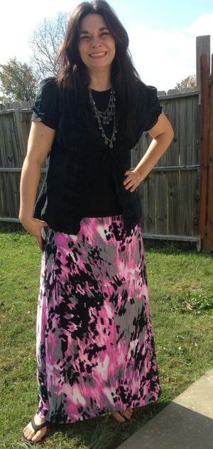 pink black and grey print maxi skirt