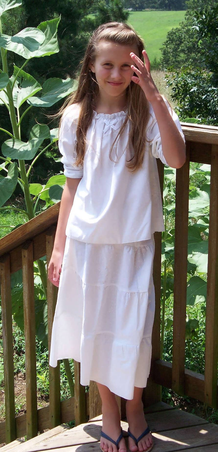 Girls White Prairie Skirt