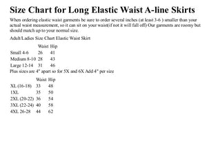 size chart for elastic waist skirts