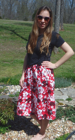 red print swim culottes