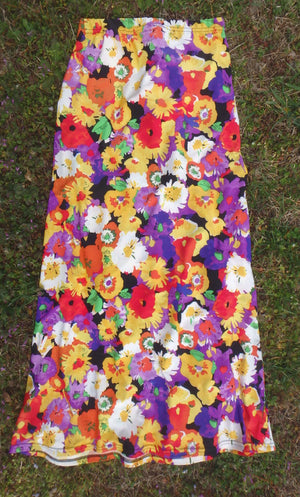 Bright floral print maxi skirt or knee length skirt