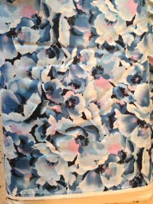 blue floral print with white panel