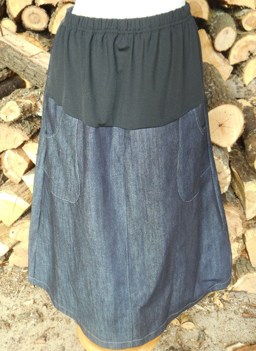 Long Denim Maternity Skirt with patch pockets