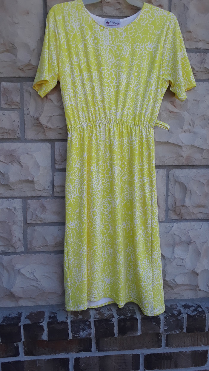 Yellow print knit dress size Small
