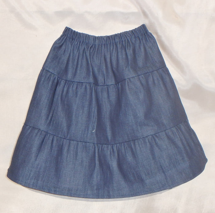 Girls tiered Denim Prairie Skirt