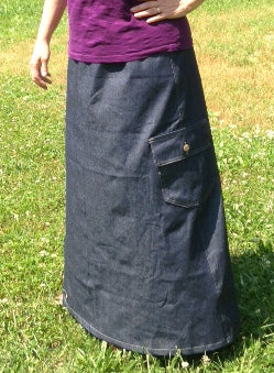 Long Elastic Waist A-line Denim Cargo Skirt