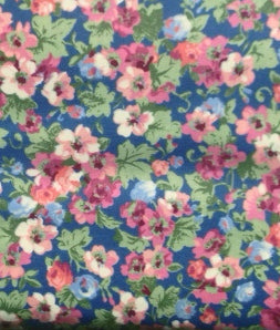 country blue with pink flowers